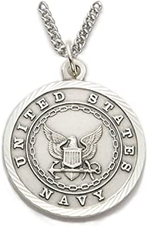 TrueFaithJewelry Sterling Silver United States Navy Medal with Saint Michael Back, 1 Inch