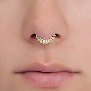 Tiny Gold Fake Septum Nose Ring, Indian Faux Gold Plated Brass Clip On Non Pierced Septum Hoop, 18g, Handmade Piercing Jewelry