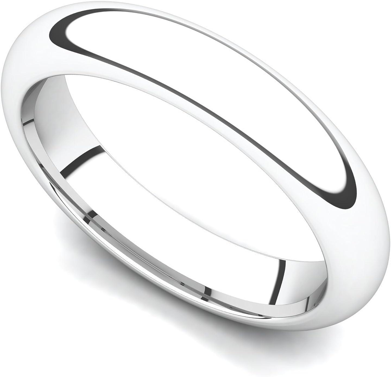 18k White Gold 4mm Domed Plain Wedding Band Ring