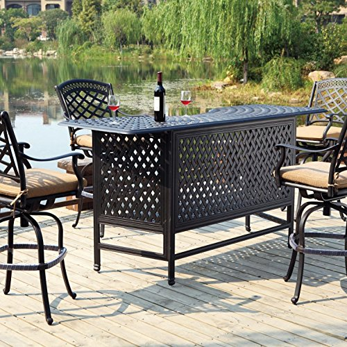 Darlee Sedona 5 Piece Cast Aluminum Patio Party Bar Set with Swivel Bar Stools - Antique Bronze