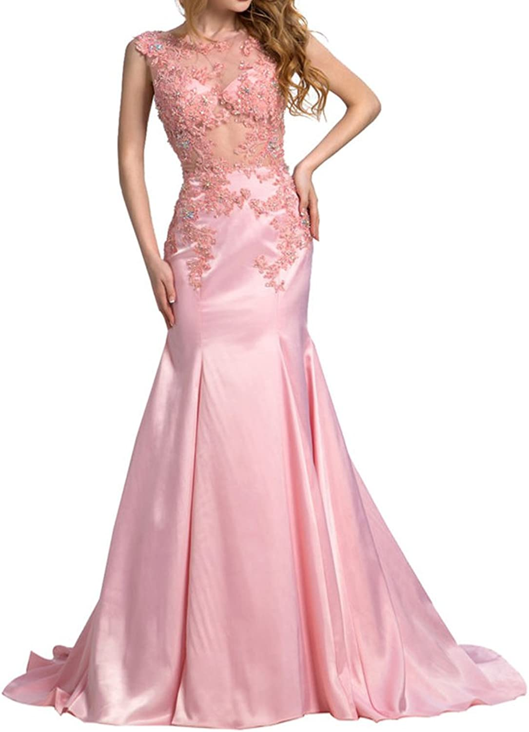 SDRESS Women's Crystals Appliques Illusion Scoop Neck Mermaid Formal Prom Dress