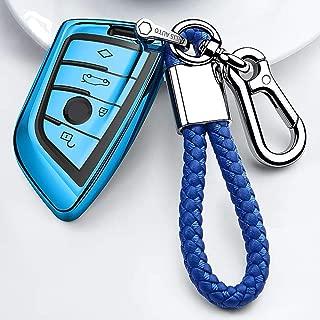 Longzheyu for BMW Key fob Cover, Key Fob Case for BMW 2 5 6 7 Series X1 X2 X3 X5 X6 Premium Soft TPU Anti-dust Full Protection,Automobile Car keypack (Blue)