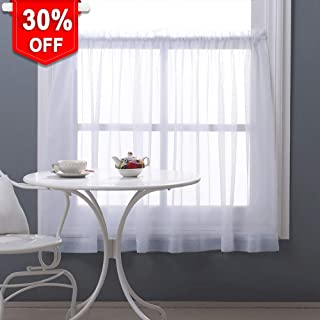 NICETOWN Half Window Sheer Curtains 36 inch Length, Soft Voile Sheer Valance Tier for Basement/Bathroom/Bedroom, W60 x L36, 1 Piece, White