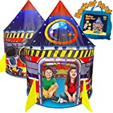 BESTPARTY Rocket Ship Kids Play Tent Indoor Outdoor Pop Up Tent, Kid Playhouse Conveniently Folds into a Carrying Bag, Toys Gifts for Toddlers Kids Boys Girls