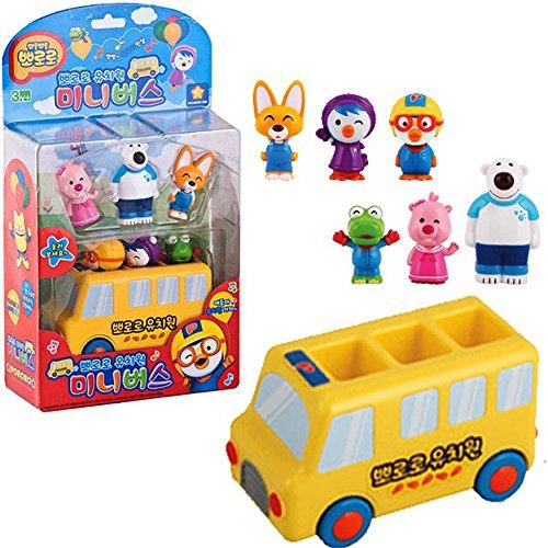 Pororo & Friends Kindergarten Mini camión & 6 cifras de personajes de juguete / Juguete de autobús escolar / sonido de voz LED efecto juguete regalo