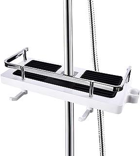MJL Étagère de douche réglable, étagère de salle de bain sans perçage, barre de douche, rangement de douche avec 2 crochet...