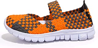 CAMSSOO Women's Woven Stretch Mesh Loafers Fashion Sneakers Breathable Slip-on Walking Shoes
