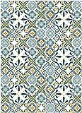 Deco&Fun - Alfombra Vinílica Hidráulica Porto Turquoise 160x220cm -Alfombra de Vinilo hidráulica...