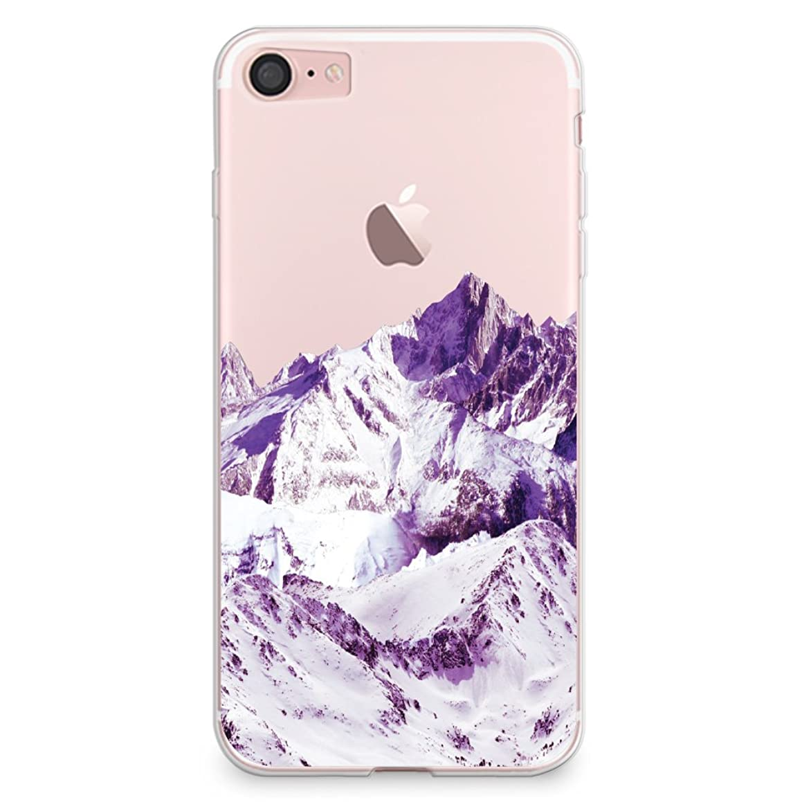 CasesByLorraine iPhone 8 Case, iPhone 7 Case, Snowy Mountain Clear Transparent Case Flexible TPU Soft Gel Protective Cover for Apple iPhone 7 & iPhone 8 (A18)