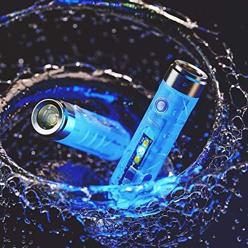 RovyVon Aurora A7 - Llavero con linterna LED (550 lúmenes, recargable, luz EDC superbrillante), color azul fluorescente