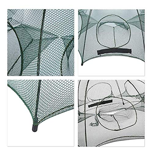 YMYGCC Fish trap Folding Fishing Cast Net Bait Cast Mesh Fishing Net Shrimp Cage For Fish Lobster Prawn Minnow Crayfish Crab With Rope 21 (Color : 4 Sides 4 Holes)