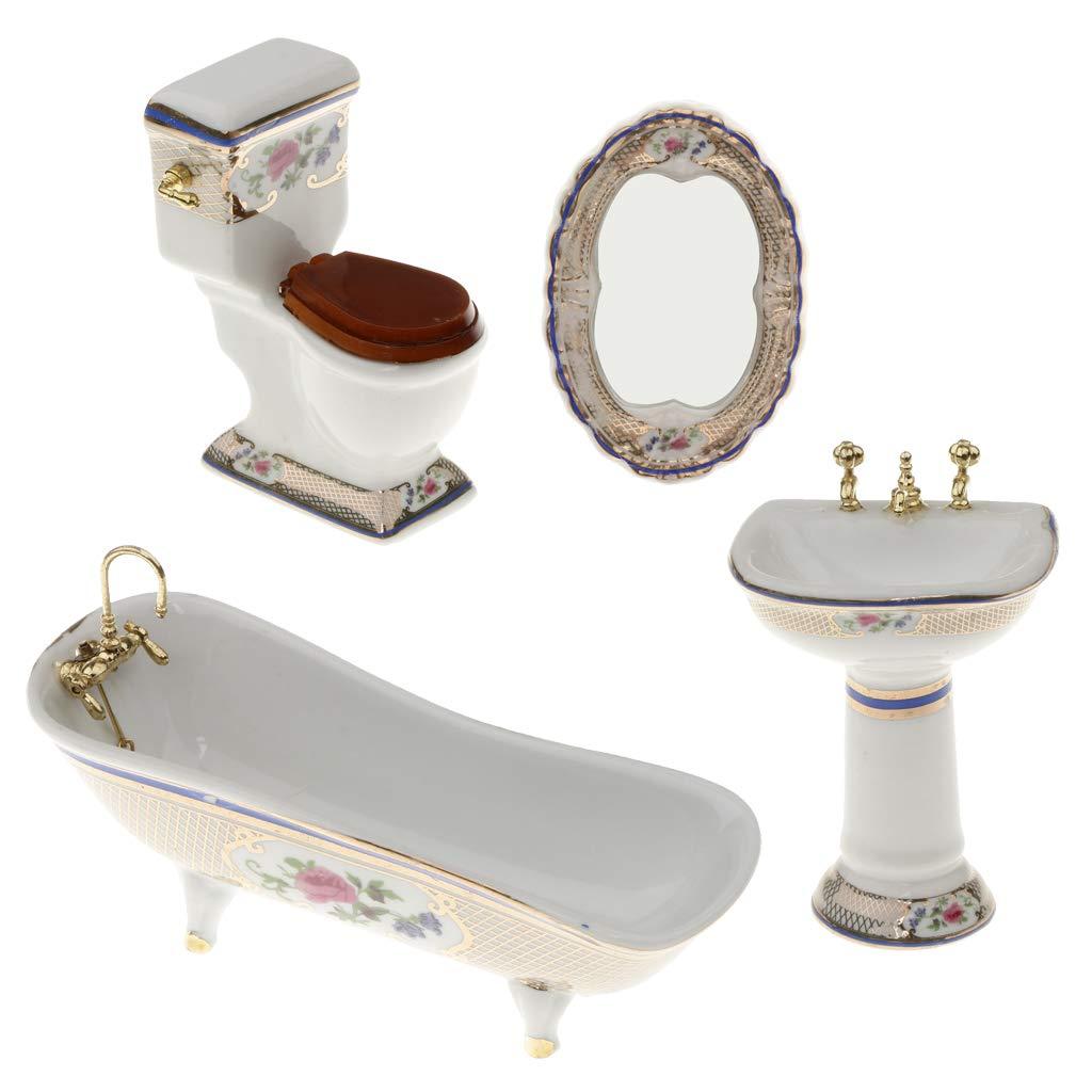 20pcs Miniatur Weiße Badewanne, Toilette, Spüle, Spiegel Badezimmer Möbel  Set für 20/202 Puppenhaus Bad Dekoration    20