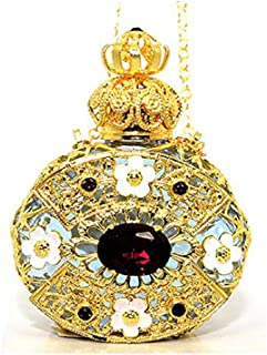 Gabriella's Gifts Czech Jeweled Decorative Perfume Oil Bottle Holder Necklace/Pendant (Purple)