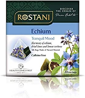 Rostani Pure Natural Herbal Tea, 240 Count in an all Natural Silk Pyramid Bags (Pack of 12 Boxes of 20 Bags Each) Variety of Herbal Tisane (ECHIUM)