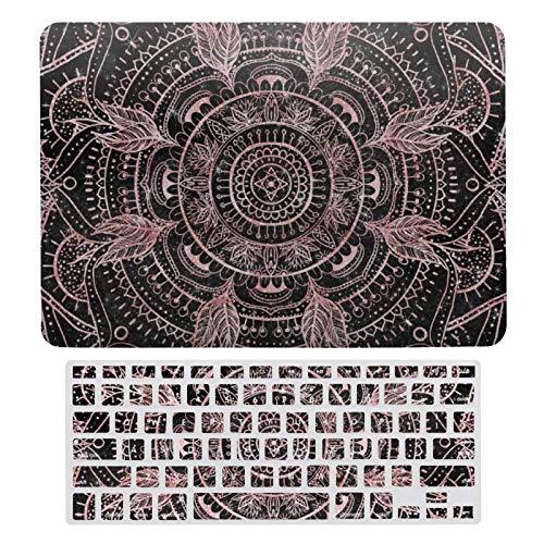Funda rígida de plástico y cubierta de teclado compatible con MacBook Air 13 (modelos: A1466, A1369), Boho Rosa Oro Gris Mandala Elegante Design-123 Teclado Membrana Protector Shell Set