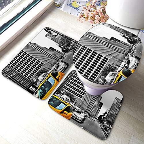 Meiya-Design New York City Badteppich Set 3-teilig - Weiche Duschvorleger - Konturmatte und WC-Deckelbezug - perfekte Kombination und Komfort