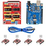 Aokin for Arduino CNC Shield Contoller Kits for 3D Printer, CNC Shield Expansion Board V3.0 +UNO R3 Board + A4988 Stepper Motor Driver with Heatsink for Arduino Kits K75 GRBL