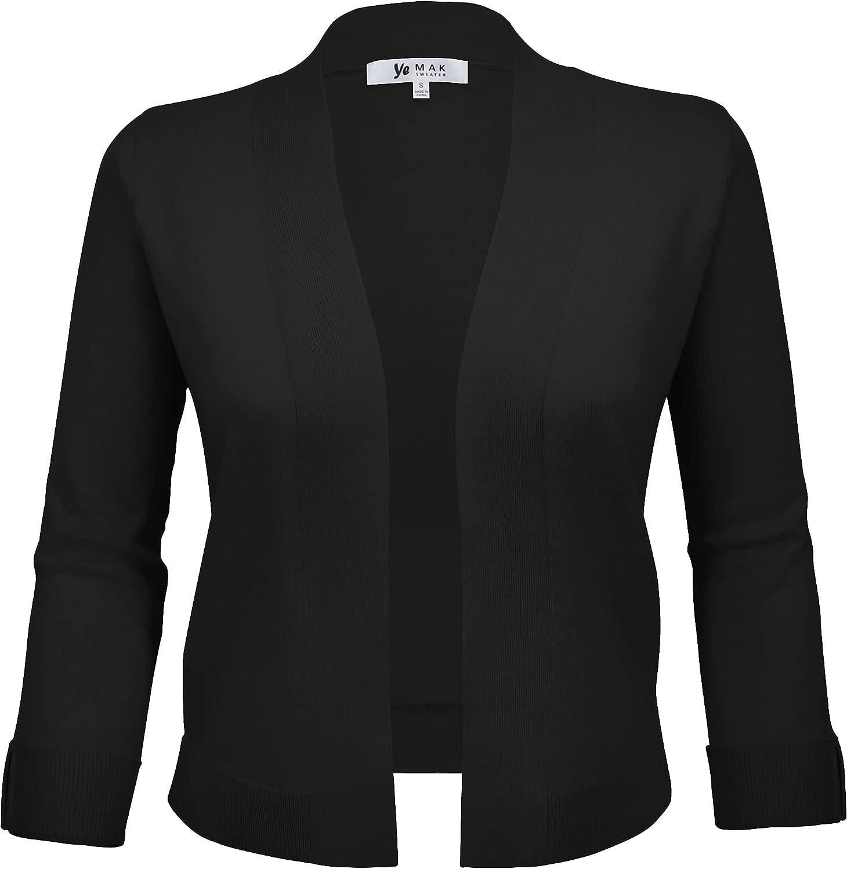 YEMAK Women's Crop Cardigan Sweater – 3/4 Sleeve Open Front Classic Basic Knit Bolero Cropped Soft Lightweight Knitted Top