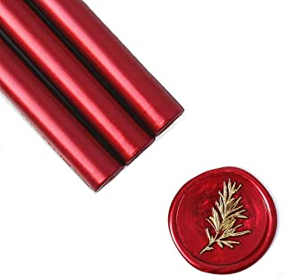 UNIQOOO Mailable Glue Gun Sealing Wax Sticks for Wax Seal Stamp - Metallic Burgundy Wine Red, Great for Wedding Invitations, Cards Envelopes, Snail Mails, Wine Packages, Gift Ideas, Pack of 8
