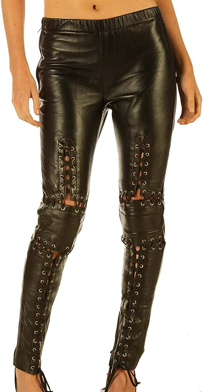 100% Natural Leather Leggings Skinny Fit Tight Leggings with Lace Tie Front Black