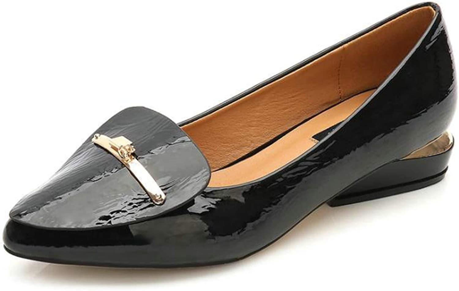 Anhon shoes Patent Leather Flat shoes Pointed Toe Woman Loafers Metal Buckle Decoration Casual Black Pink shoes Women shoes