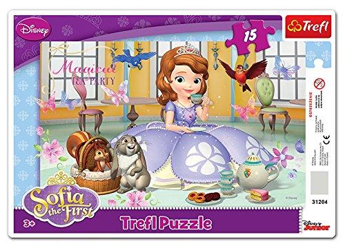 Trefl 31204 - Rahmen-Puzzle Disney, Sofia The First, Teezeit, 15 Teile
