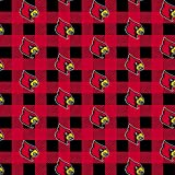 University of Louisville Fleece Blanket Fabric-Louisville Cardinals Fleece Fabric with Buffalo Plaid Design