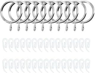 Kungfu Mall 30 anneaux de rideau en métal argenté anneaux suspendus, 30 crochets de rideau en plastique blanc pour rideau ...