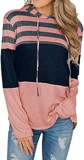 Xinantime Women Hoodie Sweatshirt Long Sleeve Striped Color Block Drawstring Top Patchwork Casual Loose Blouse