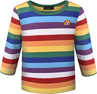Ezsskj Kids Boys Children's Toddler Rainbow Shirt Halloween Costume Chucky Costume Shirt Striped T Shirts Tee
