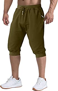 TACVASEN Men's Shorts 3/4 Jogger Capri Long Shorts Running Cotton Below Knee Pants with Pockets