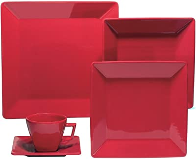 Oxford 20 Piece Red Collection Quartier Dinnerware Set