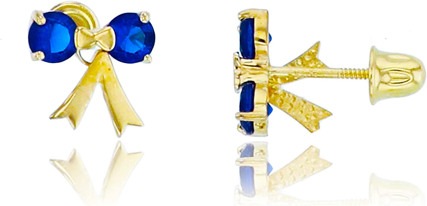 14K Yellow Gold 3mm Round Sapphire Zirconia Daily bargain sale Cubic with Sale special price Studs Bow