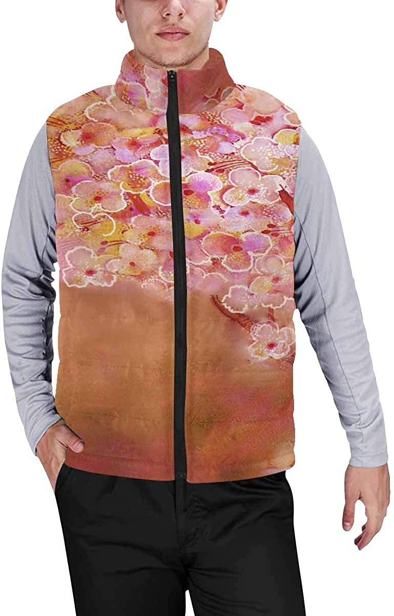 InterestPrint Men's Casual Sleeveless Coats with Personality Design Floral with Flamingo