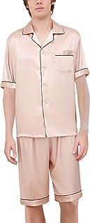 Dolamen Mens Pyjamas Set Satin Short, Mens Silky Soft Spring Summer Silky Pyjamas Nightwear, Short Sleeve Bottoms, Check B...