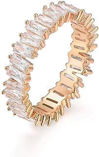 خاتم يوجيم الأنيق AAA مكعب زركونيا الرغيف الفرنسي ، لامع ، ايتيرنيتي خاتم للنساء