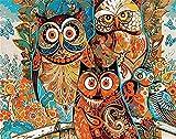 Pintura por Números DIY Pintura por números para Adultos y Niños (búho) con Pinceles y Pinturas Decoraciones para el Hogar Sin Marco, 40 x 50 cm