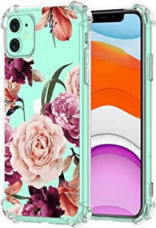 iPhone 11 Soft TPU Clear Case Clear Flower Pattern Design Soft & Flexible TPU Ultra-Thin Shockproof Transparent Floral Cover, Floral iPhone 11 Case (1)