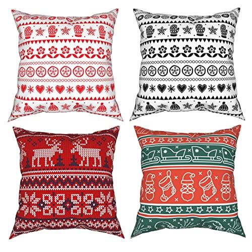 Fundas de almohada decorativas de Navidad escandinava, 4 unidades, para sofá, dormitorio, sala de estar