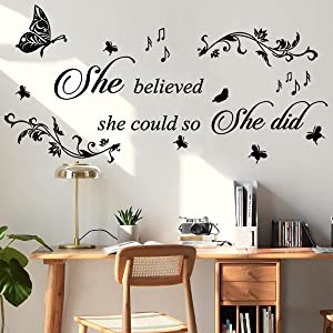 Inspirational Quotes She Believed She Could so She Did Wall Stickers Wall Decals for Girls Bedroom Living Room Family Nursery Décor Sign Wall Art Wall Words Sticker Room Decoration.