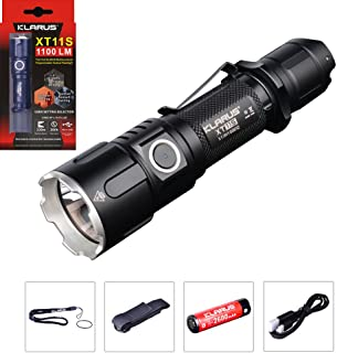 Klarus Improved XT11S LED Compact 1100 Lumens USB Rechargeable Tactical Flashlight, Rechargeable 18650 Battery, USB Charging Cable, Lanyard, Holster, Pocket Clip