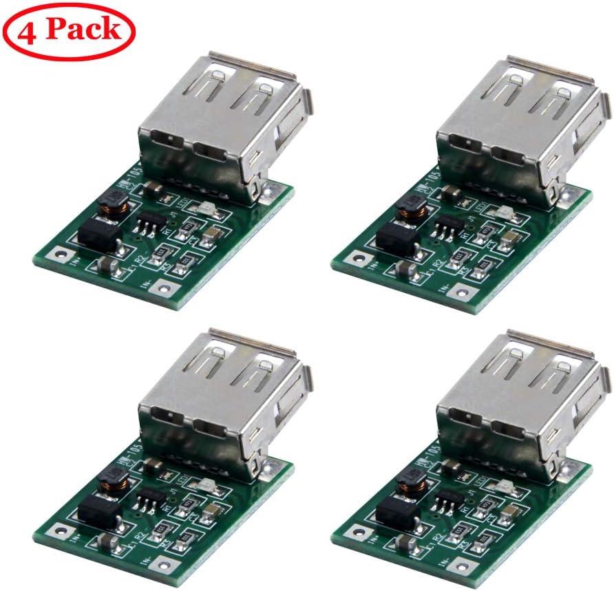TeOhk 4PCS USB DC-DC Converter 0.9V- 5V Boost to 5V 600MA Step Up Power Module for DIY Project