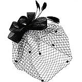 Womens Vintage Hats Headdress Bridal Fascinator Black Bowknot Flower Mesh Hat Hair Clip Wedding Party Face Veil Headbands (Black)