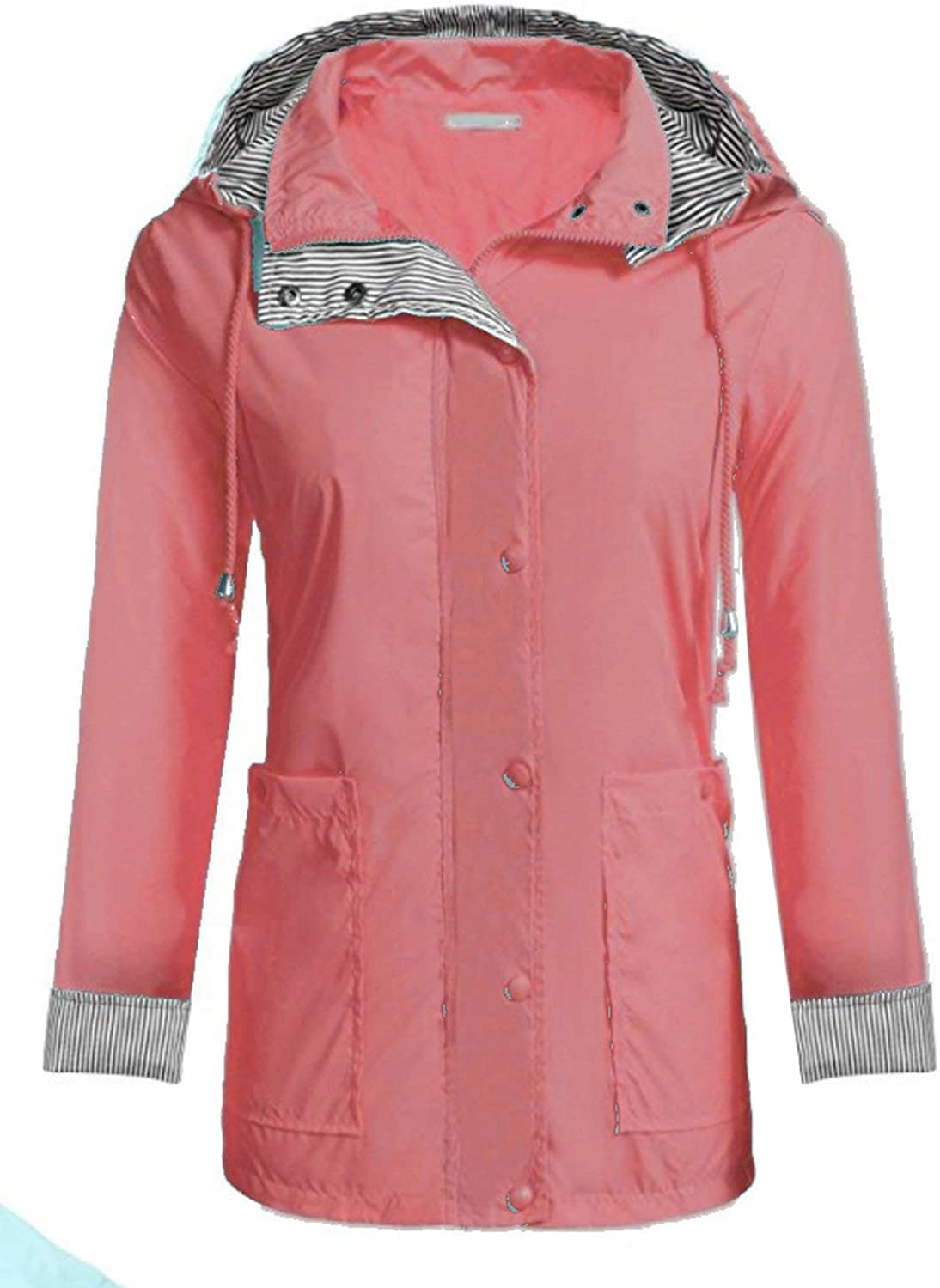 Isabelvictoria Lightweight Women Hooded Raincoat with 2 Big Pockets Long Sleeve Waterproof Zipper Rain Jacket Outdoor Rainwear  orange Pink XL