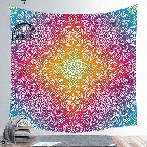 KHKJ Tapiz Negro Azul Sol Luna Mandala tapices de Pared Hippie Colgante de Pared Bohemio hogar habitación Pared Arte decoración A9 150x130cm
