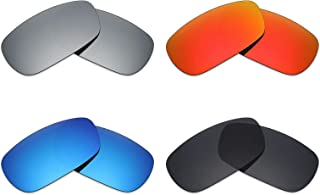Mryok 4 Pair Polarized Replacement Lenses for Oakley Crosshair 2.0 Sunglass - Stealth Black/Fire Red/Ice Blue/Silver Titanium