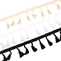 White Berolle 50 Yards Tassel Fringe Trim Cotton Lace Ribbon Sewing Curtail Pillow Trim for Home Decoration Crafts