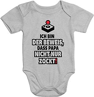 MoonWorks Kurzarm Baby Body Ich Bin der Beweis DASS Papa Nicht nur zockt Gamer Zocker Spruch lustig