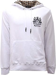 Aquascutum 2731AE Felpa Cappuccio Uomo White Cotton Sweatshirt Man