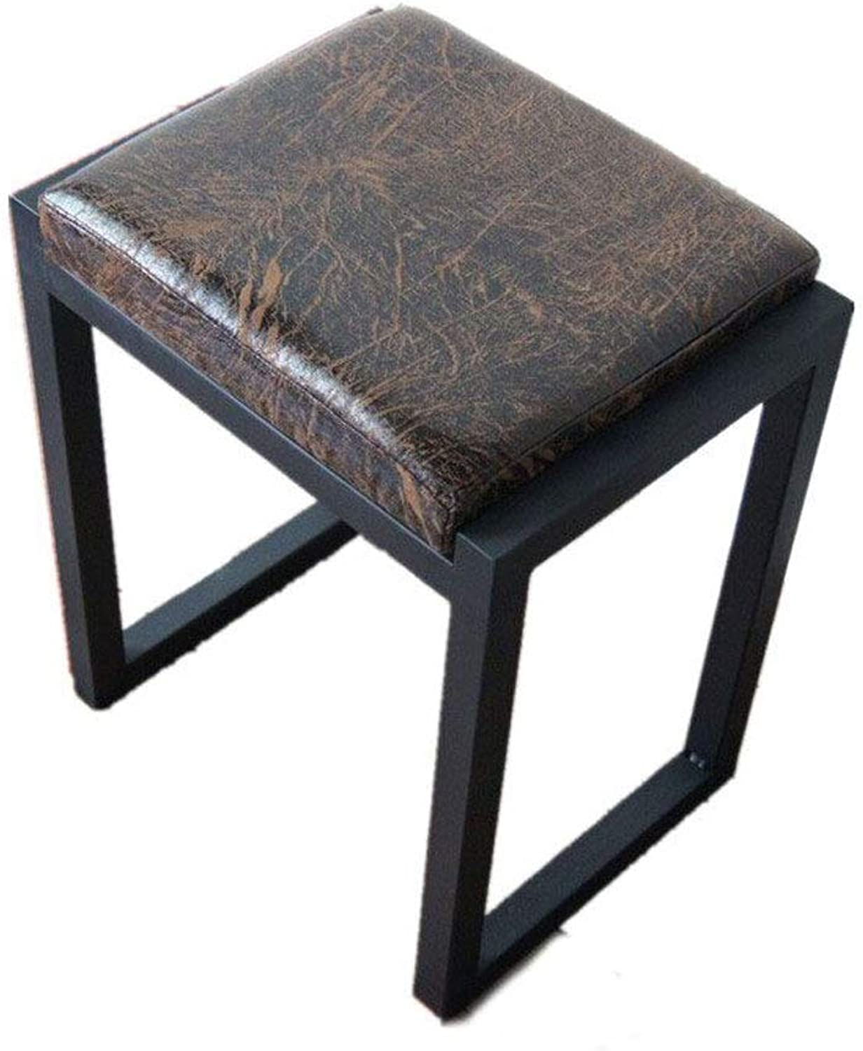 American Retro Metal Leather Stool Square Stool Bedside Stool Dressing Stool Makeup Bench Outdoor Stool Lounge Chair (Size   45cm)
